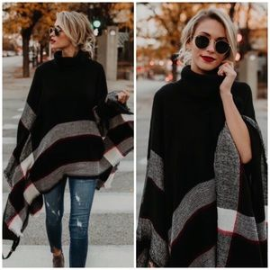 Plaid Knit Frayed Hem Poncho Winter Cape